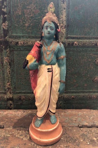 Vintage Painted Clay Statue of Lord Krishna, God of Love <b>SOLD<b>